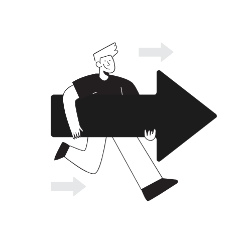 A man carrying a next arrow, showing moving forward. This shows that in life, we are always moving, no matter which direction. We are inevitably in motion, but in which direction? That is your choice.