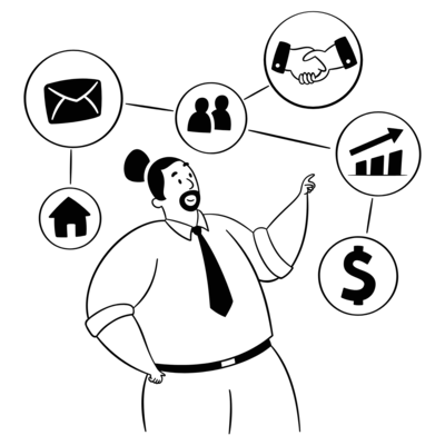 A man with a timeline workflow (steps) on top of his head. This shows that there are 7 steps to a complete referral. With each step, there is an objective that must be achieved.