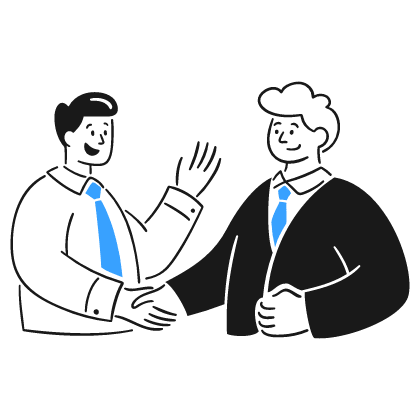 2 men shaking hands while smiling. This shows that, in the modern world, the way to approach M&A is not inherently dictatorial but emphasizes constructive change when necessary, with maintenance and exploitation of what is good.
