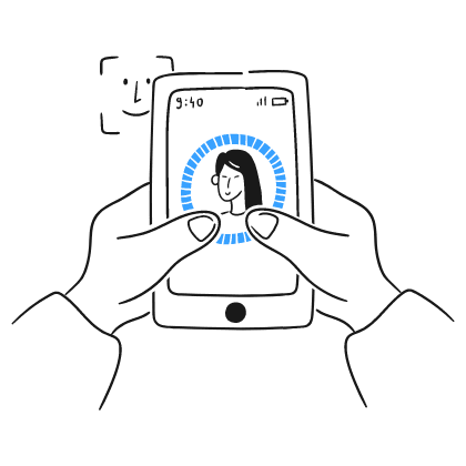 A hand holding a phone showing a face id. This relates to the idea of authenticity of being a leader.