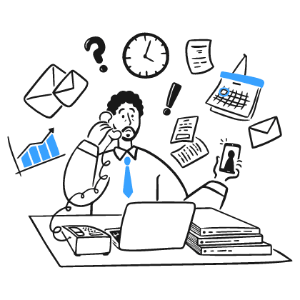 A male employee flooded with lots of information. Just like us, we are flooded with information overload everyday, and our brain has limits too of how many things it can decide on.