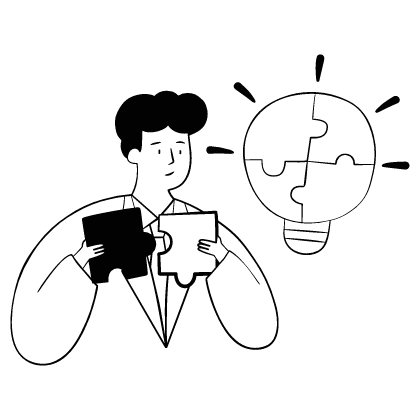 A male individual trying to fit the puzzle together, as a eureka moment appears. This relates to the way social media brings team to work together, to overcome the newest problem.