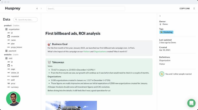 A screenshot for Husprey application.
