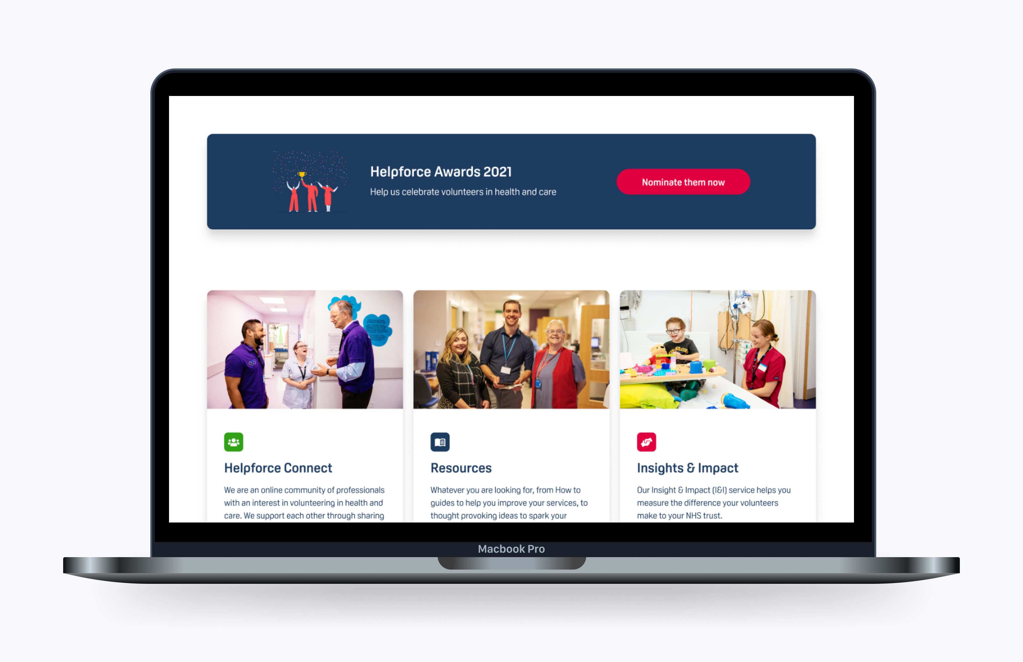 A digital platform built on Nuxt JS and Craft CMS to help connect Helpforce volunteers with their communities.