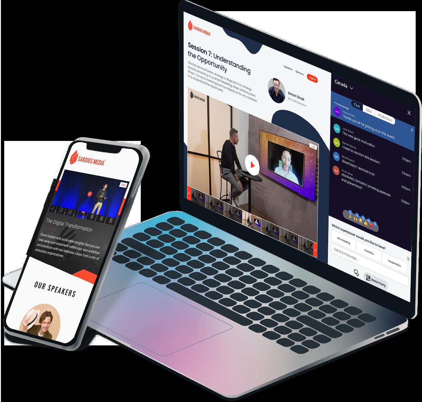 Sardius Media platform on computer and phone