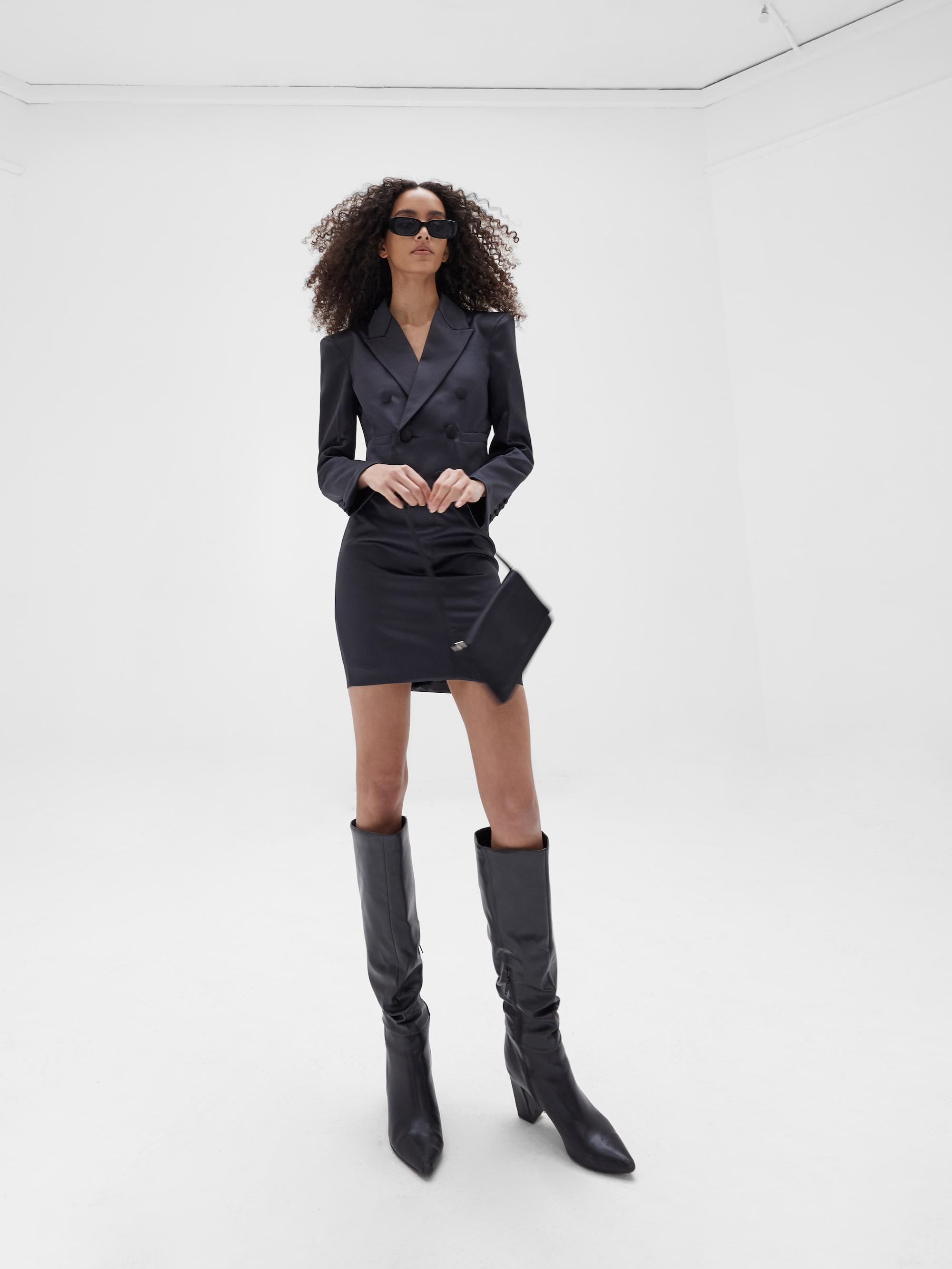 View 5 of model wearing Kin Cropped Blazer in black.