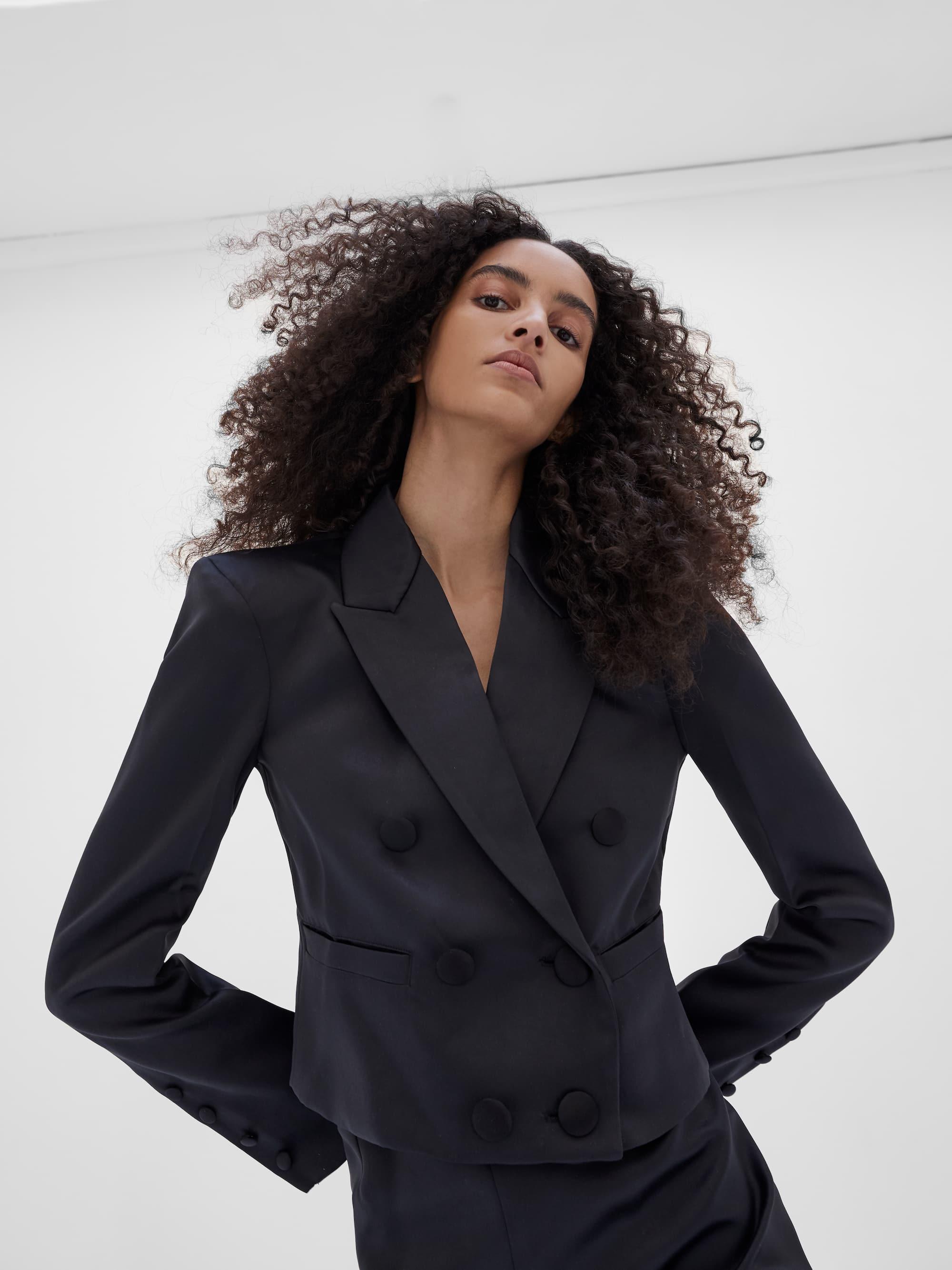 View 3 of model wearing Kin Cropped Blazer in black.