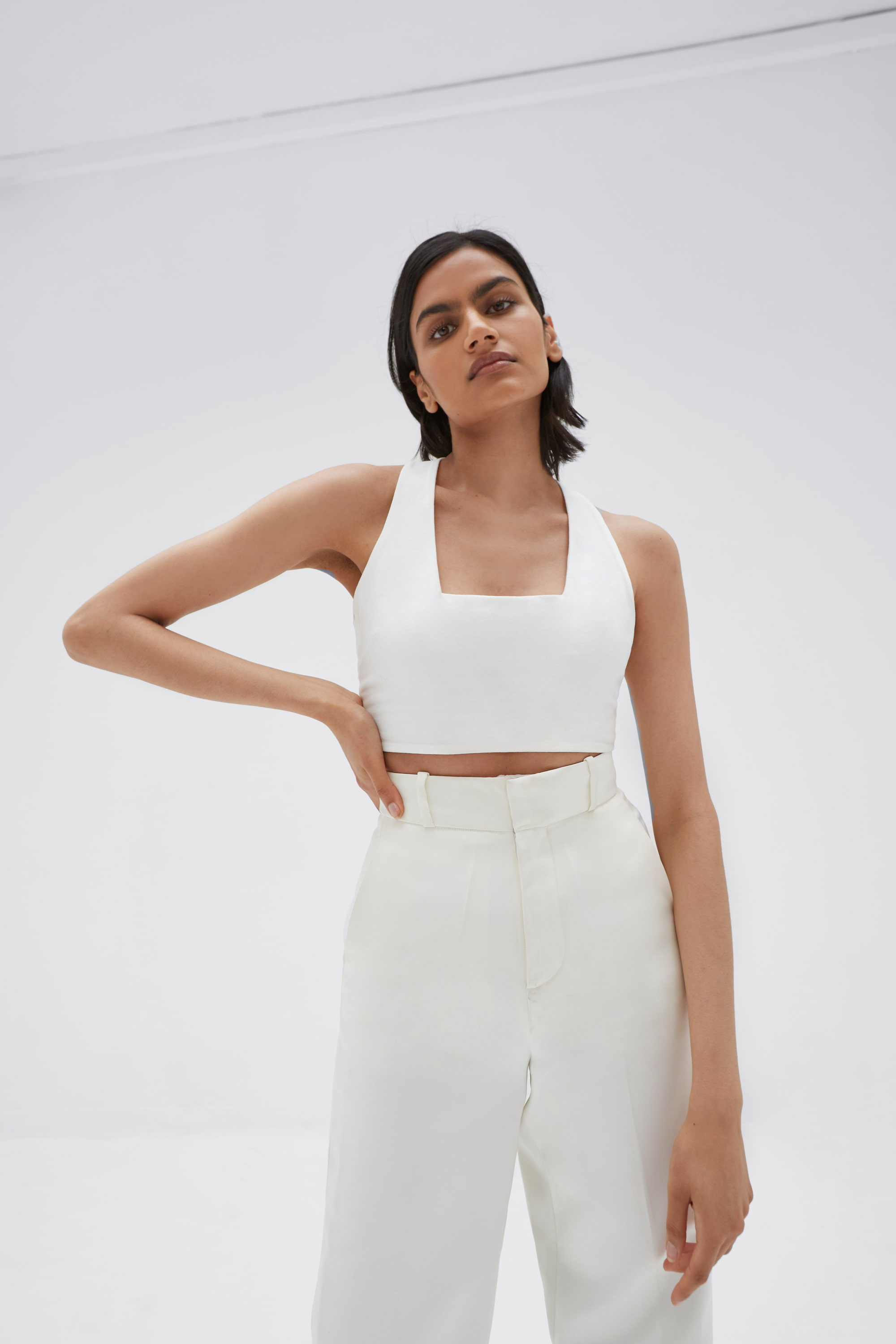 Khul Stretch Square Neck Top Ivory