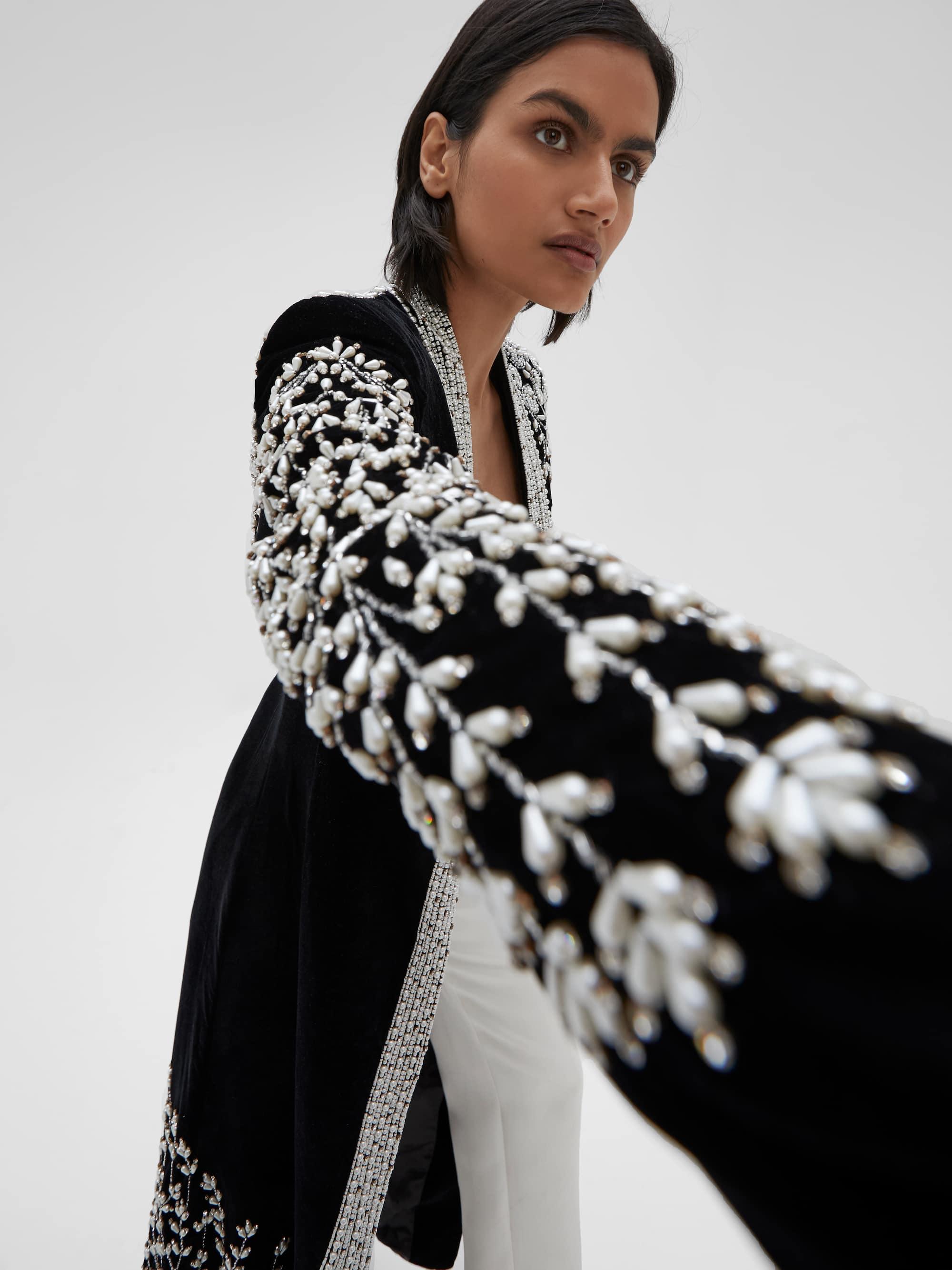 View 5 of model wearing Kamia Kimono in black.