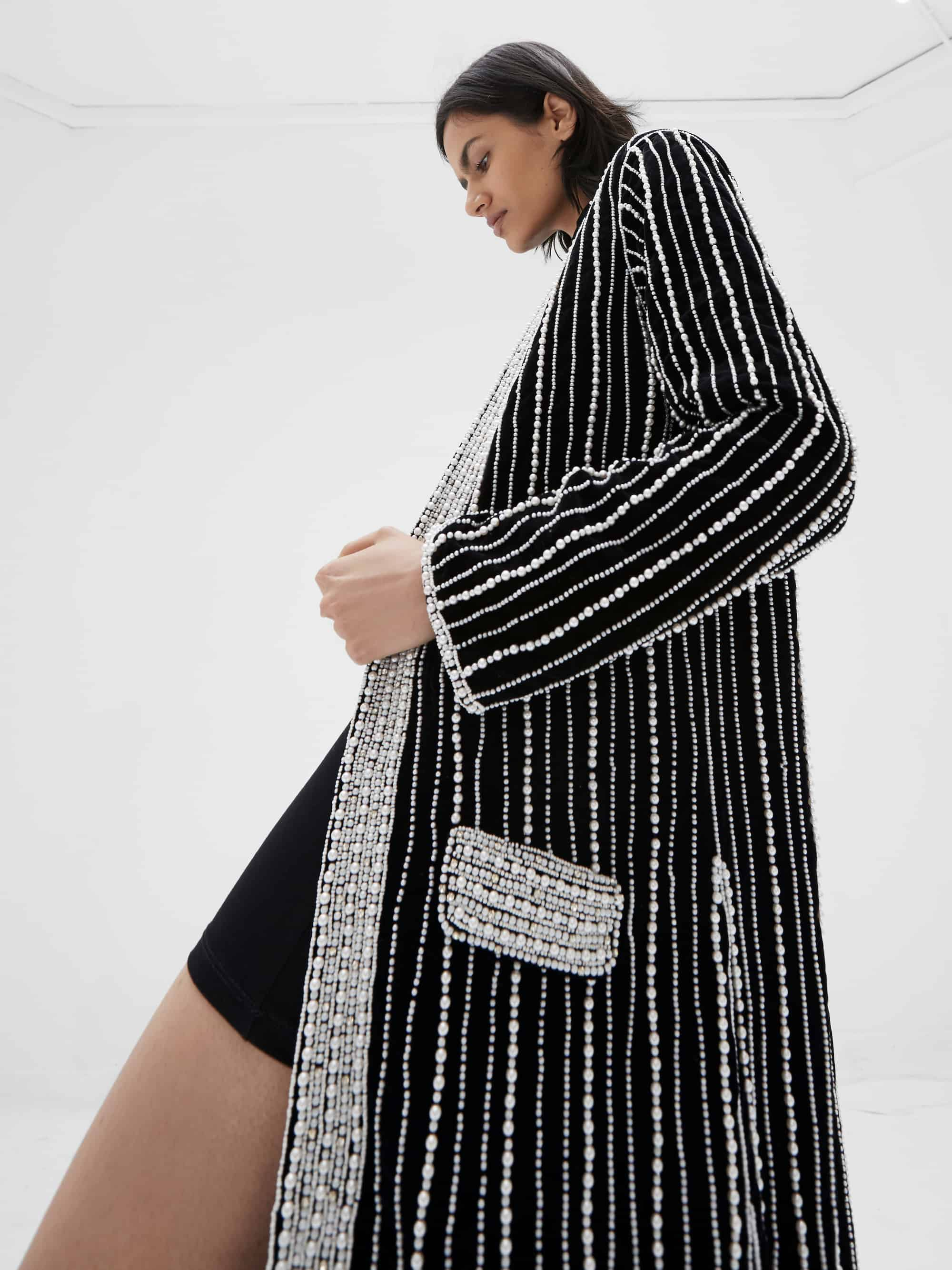 View 5 of model wearing Kasia Kimono in black.