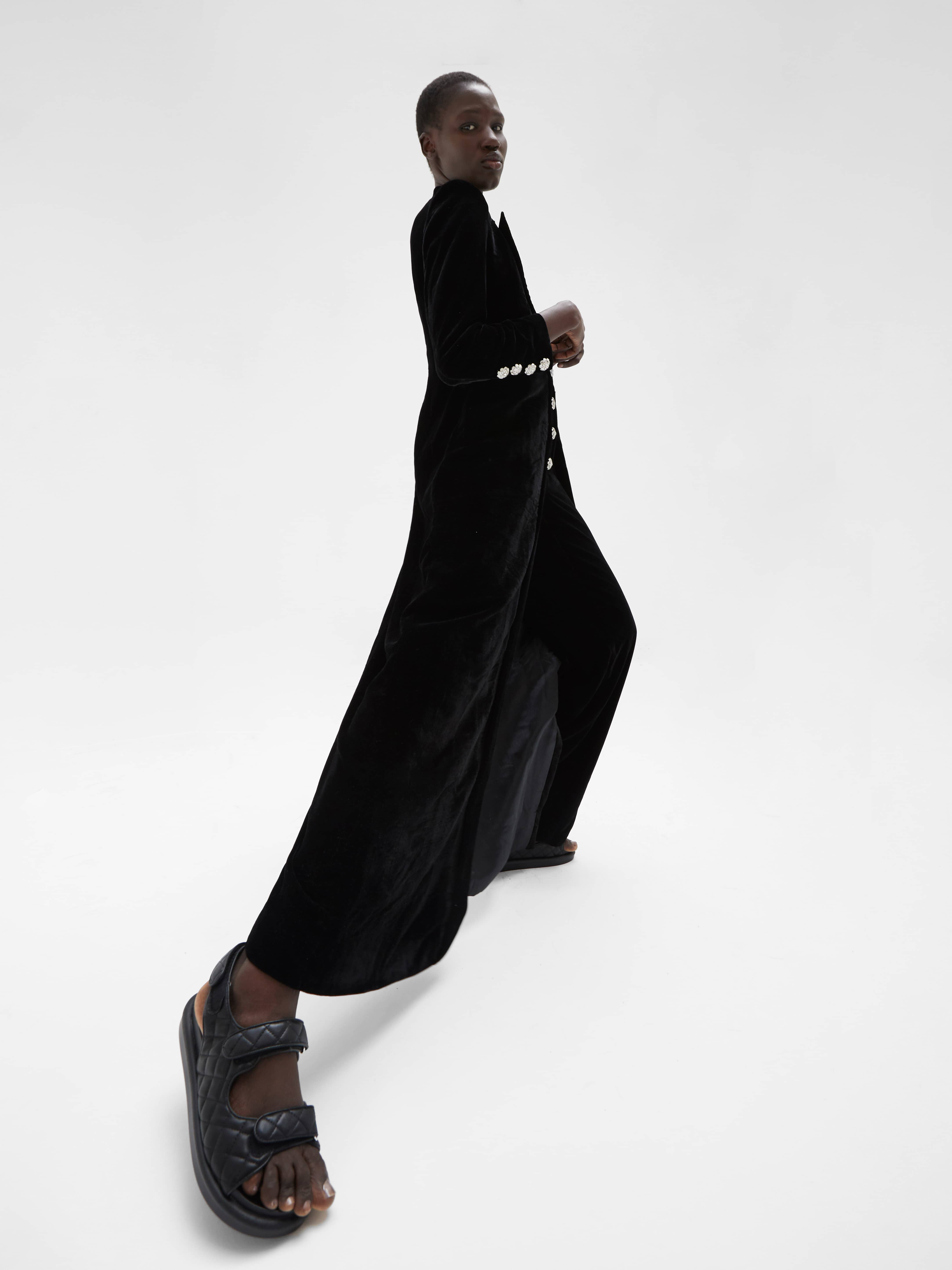 View 4 of model wearing Kezia Kimono in black.