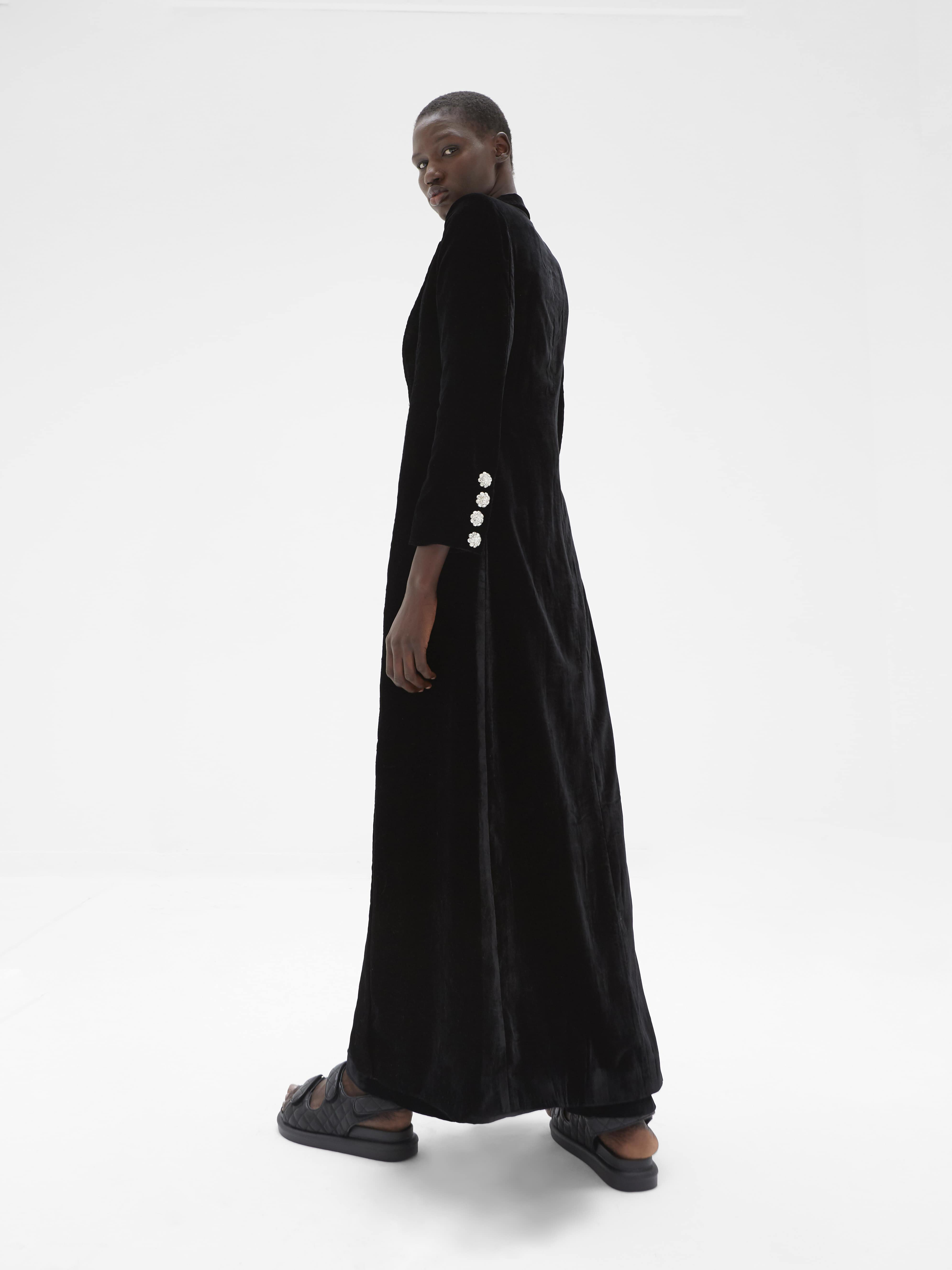 View 2 of model wearing Kezia Kimono in black.