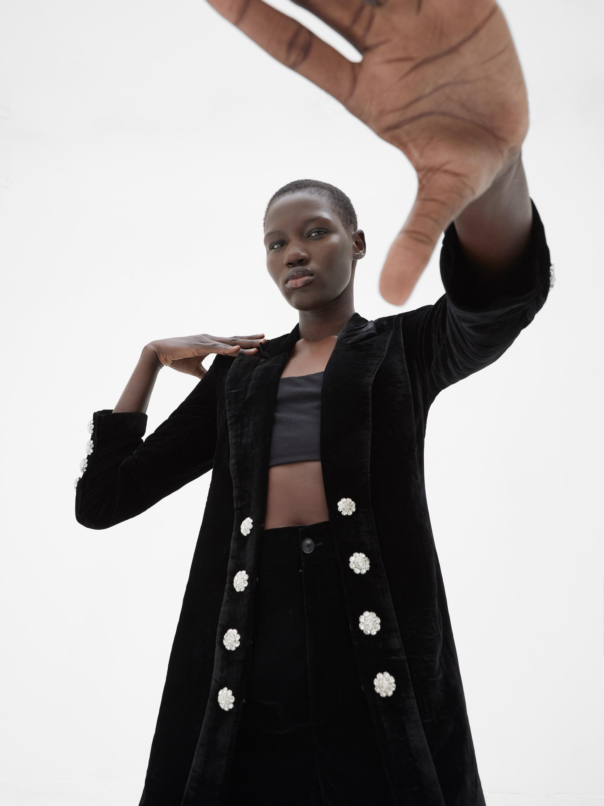 View 3 of model wearing Kezia Kimono in black.