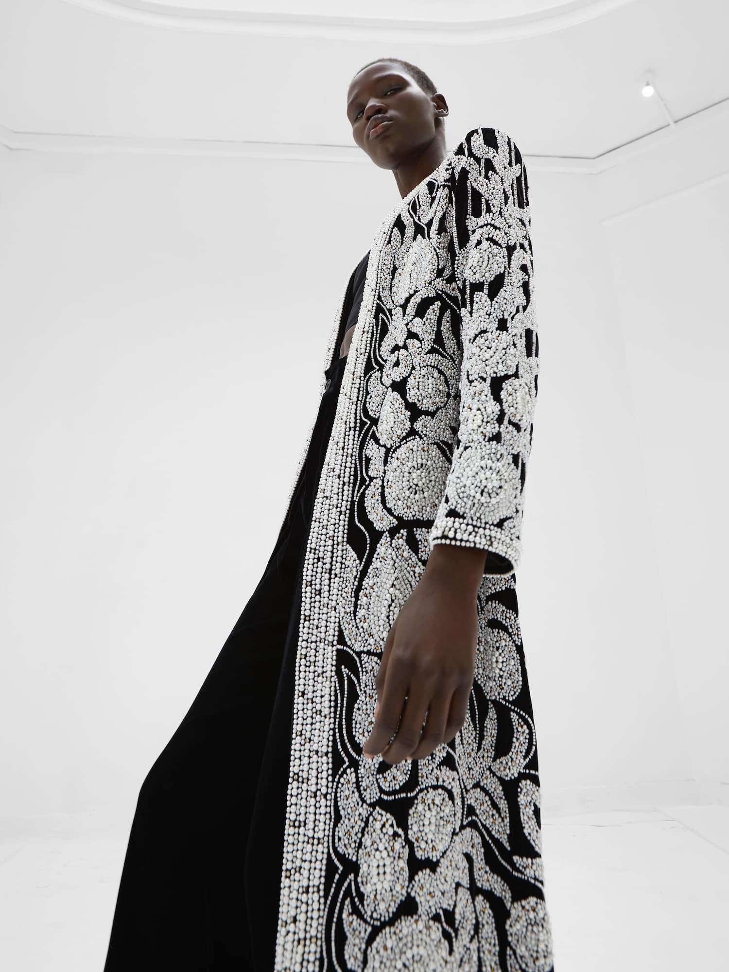View 3 of model wearing Khaira Kimono in black.
