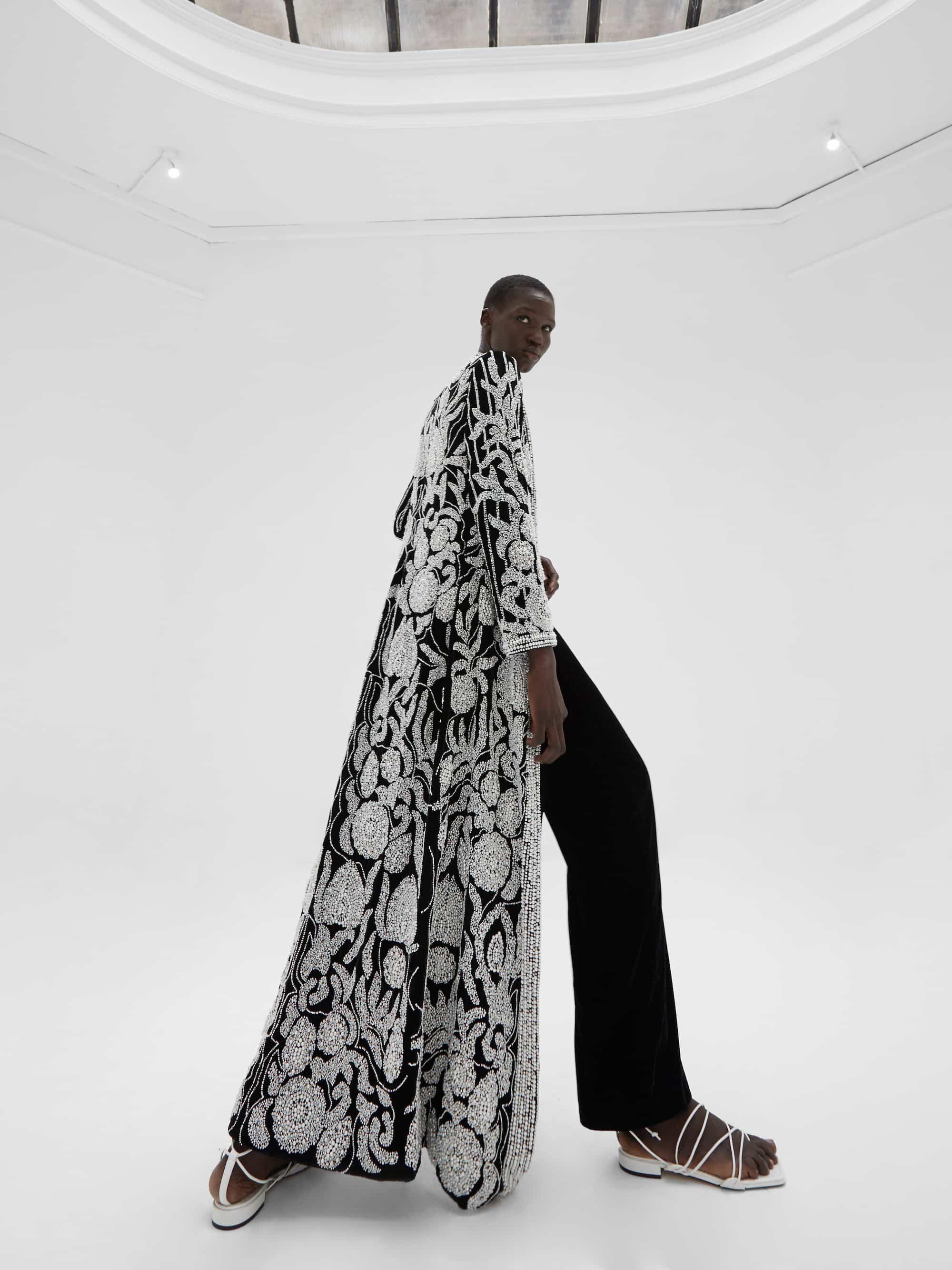 View 4 of model wearing Khaira Kimono in black.