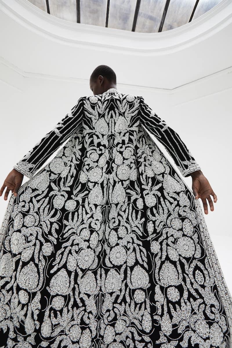View 2 of model wearing Khaira Kimono in black.