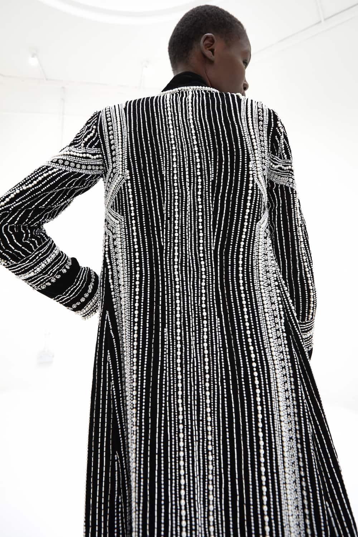 View 2 of model wearing Kainaaz Kimono in black.