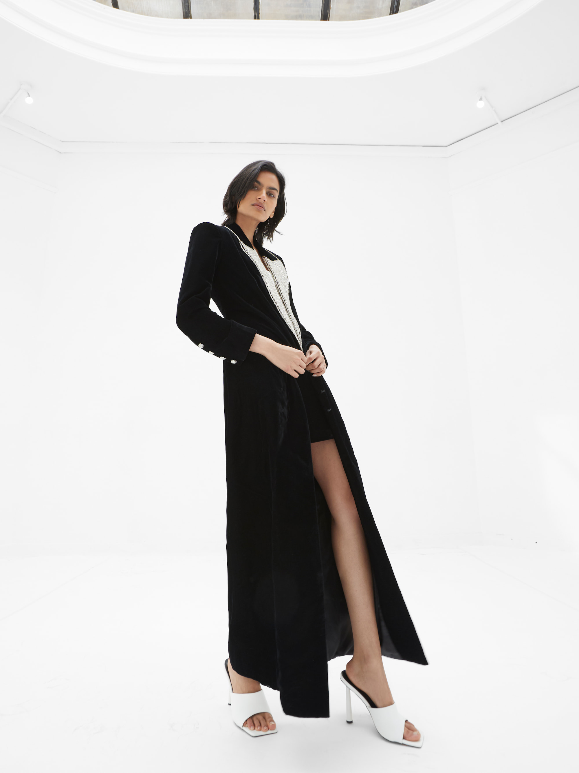View 5 of model wearing Kalia Kimono in black.