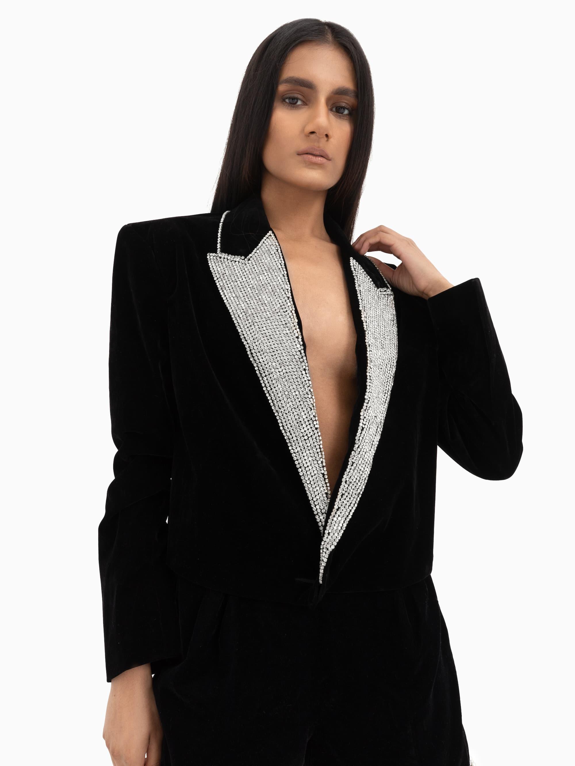 Kain Cropped Blazer Black