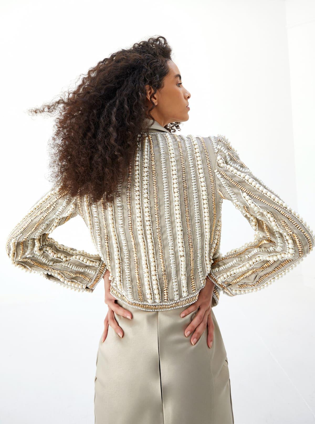 View 3 of model wearing Kaysa Blazer in pearl gold.
