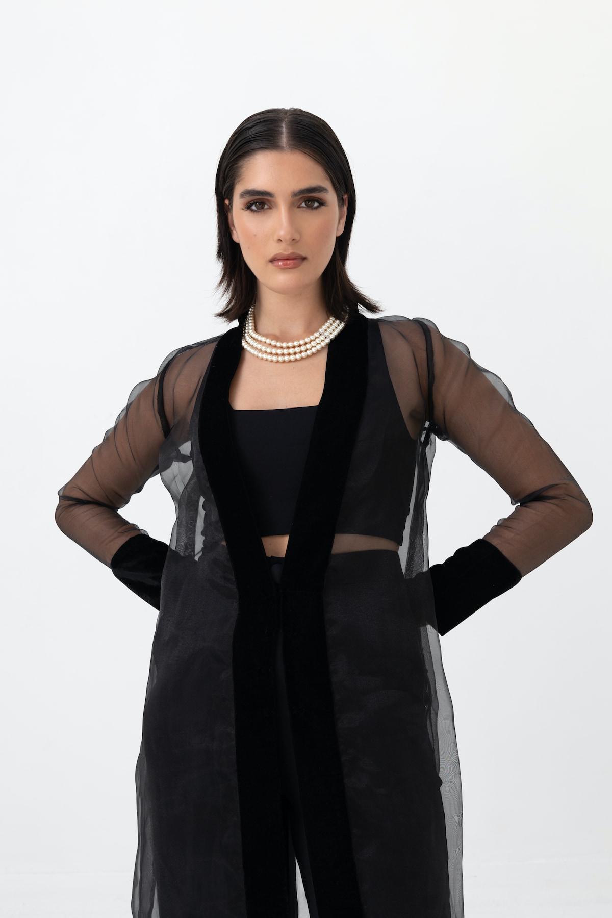 View 5 of model wearing Kiera Kimono in black.