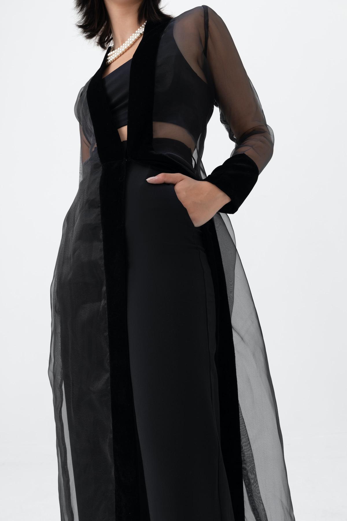 View 3 of model wearing Kiera Kimono in black.