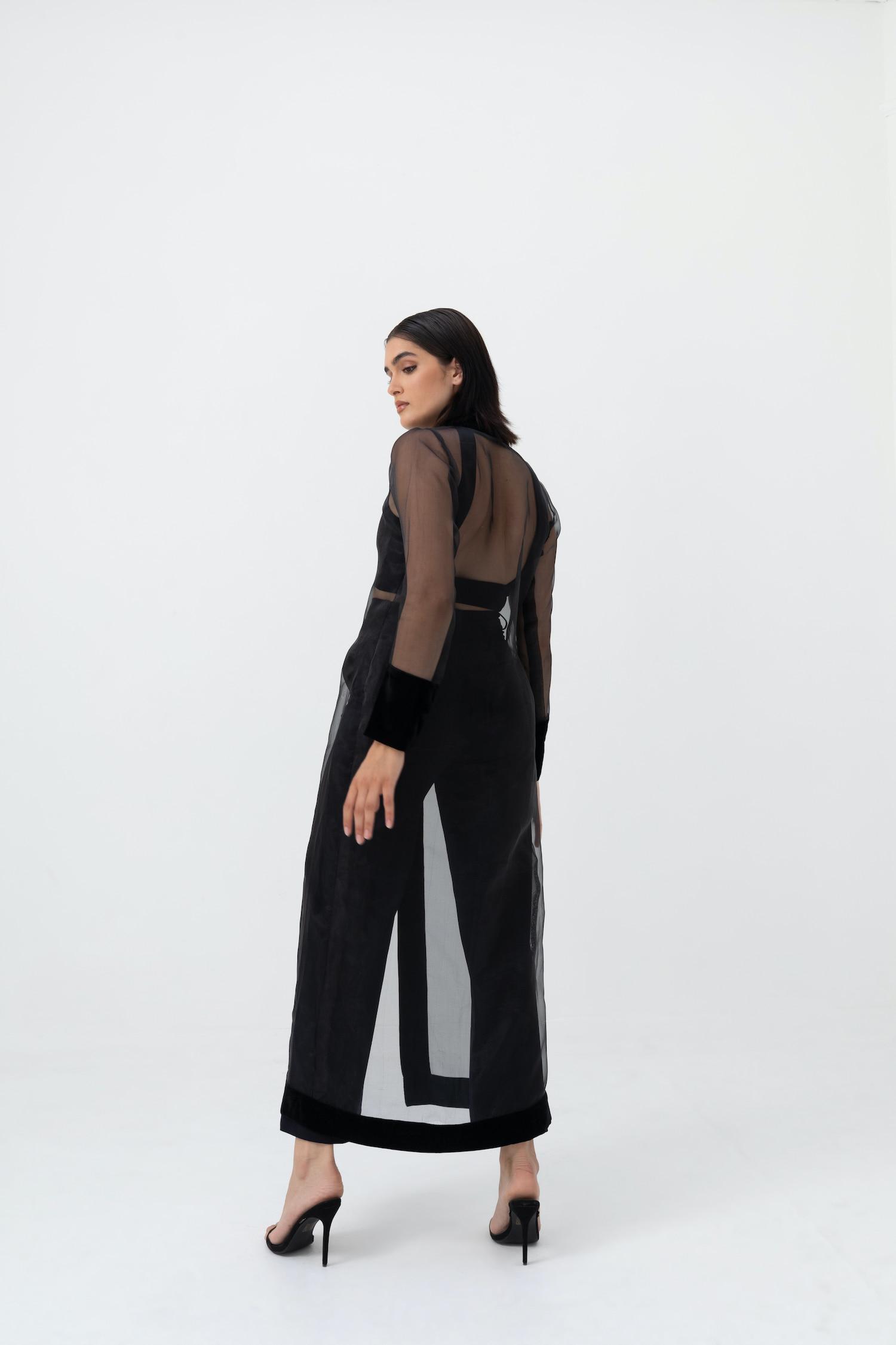 View 2 of model wearing Kiera Kimono in black.
