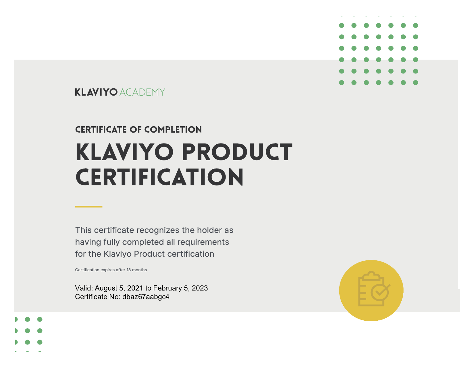 Klaviyo Product Certification Badge.