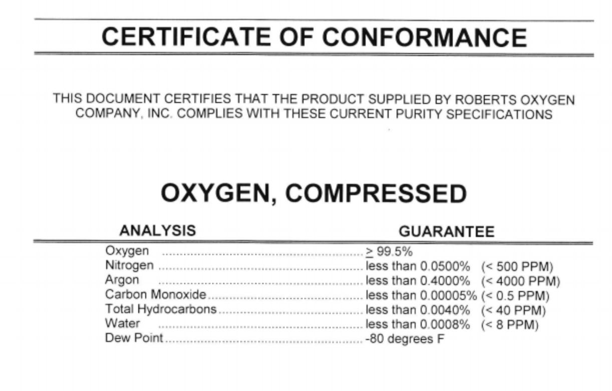 oxygen tank certificate