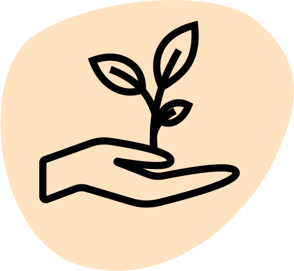 A hand holding a plant to signify helping support climate work