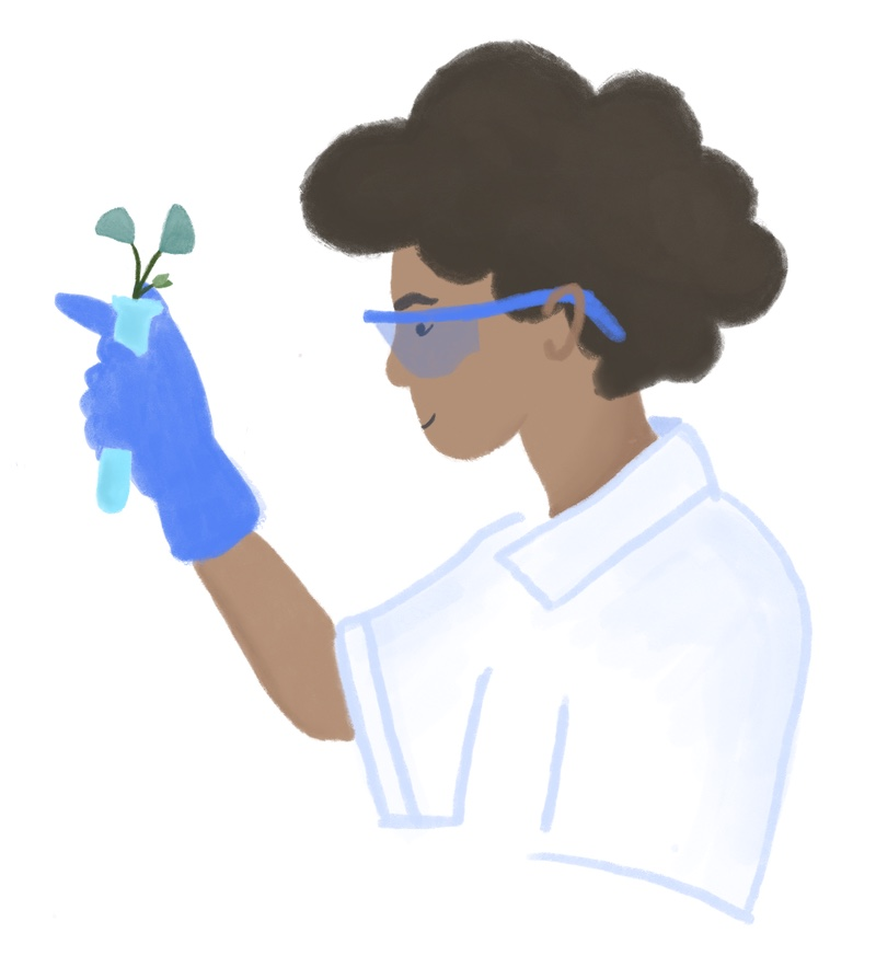 Climate scientist studying plants
