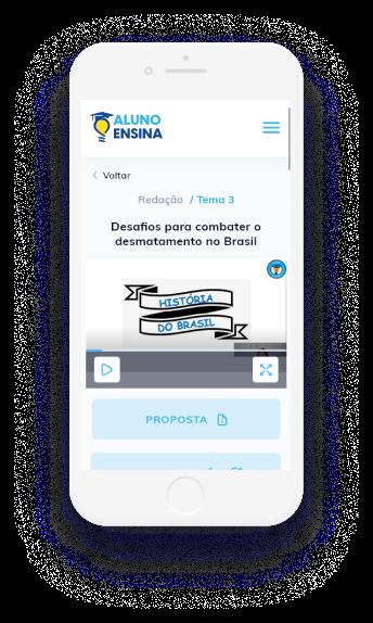 Imagem de um celular com a página do site do aluno ensina
