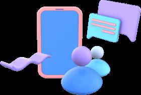 ícone com celular e pessoas