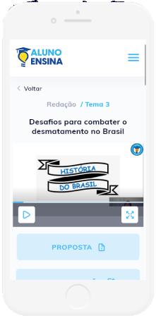 Mobile com imagem do site do aluno ensina