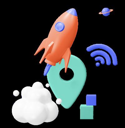 logo com imagem de foguete, nuvem, sinal de rede e um pin de localização