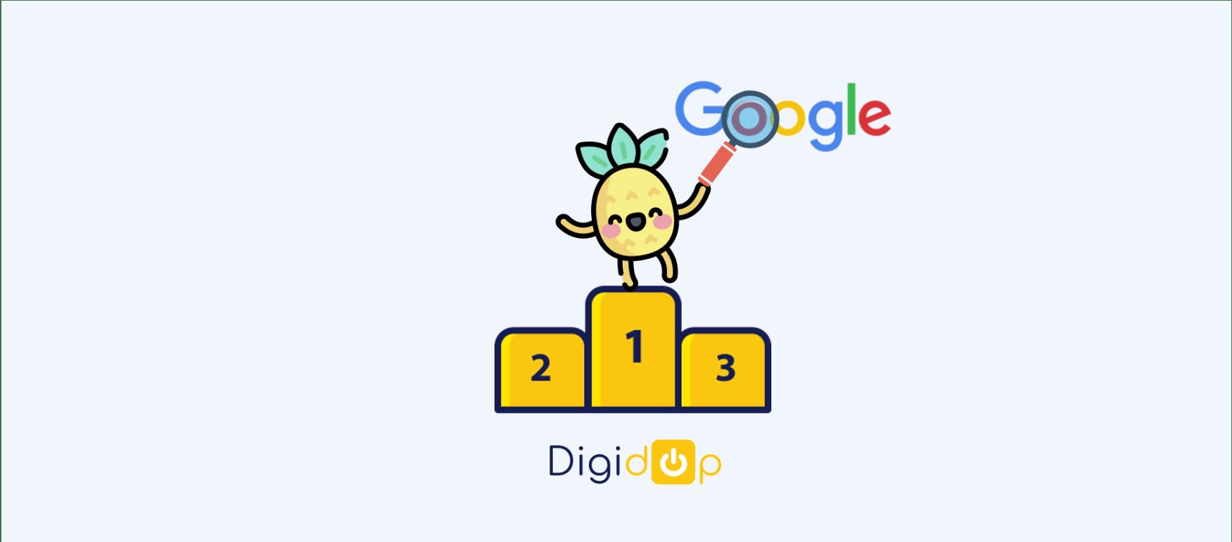 Logo Digidop avec barre de recherche en 1ere place sur un podium