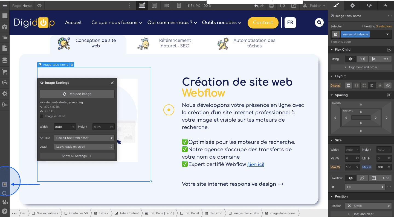 Tutoriel where to click audit webflow designer