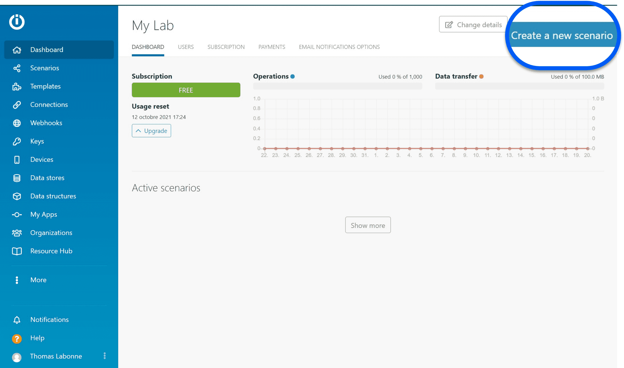 Tableau de board de l'outils Integromat pour créer un nouveau scénario
