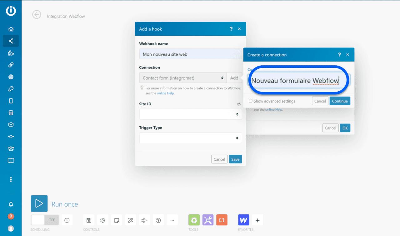 Renommer connexion du module webflow depuis l'espace de travail Integromat