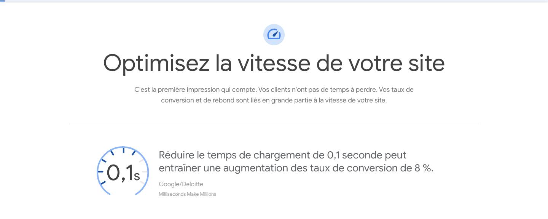 Capture d'écran de l'audit deloite x Google des bénéfces sur l'optimisation de la vitesse de votre site web