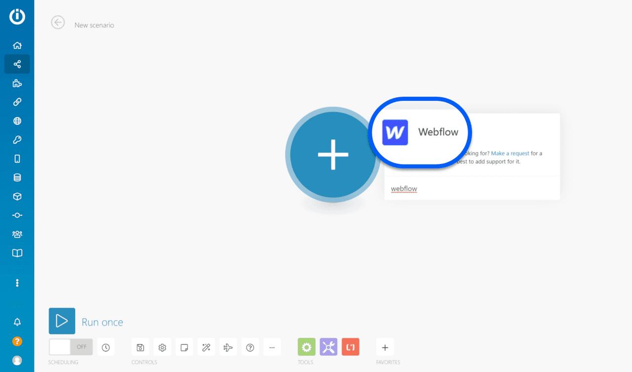 Module webflow sur le tableau de board Integromat