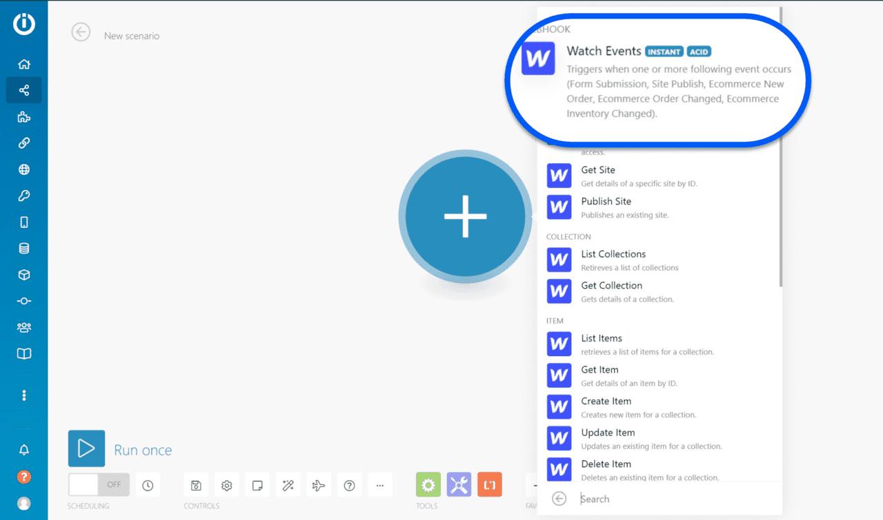 déclencheur webflow sur le tableau de board Integromat