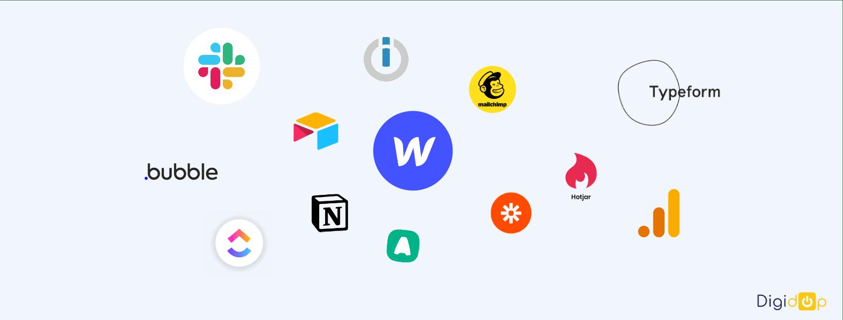 Logo d'outils nocode tel que Webflow, bubble, slack, notion, hotjar