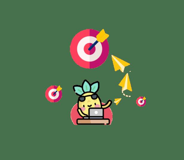 Icone anans de Digidop avec des cibles rouges et un ordinateur