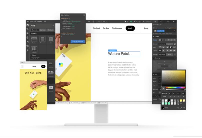 Interface du designer de Webflow