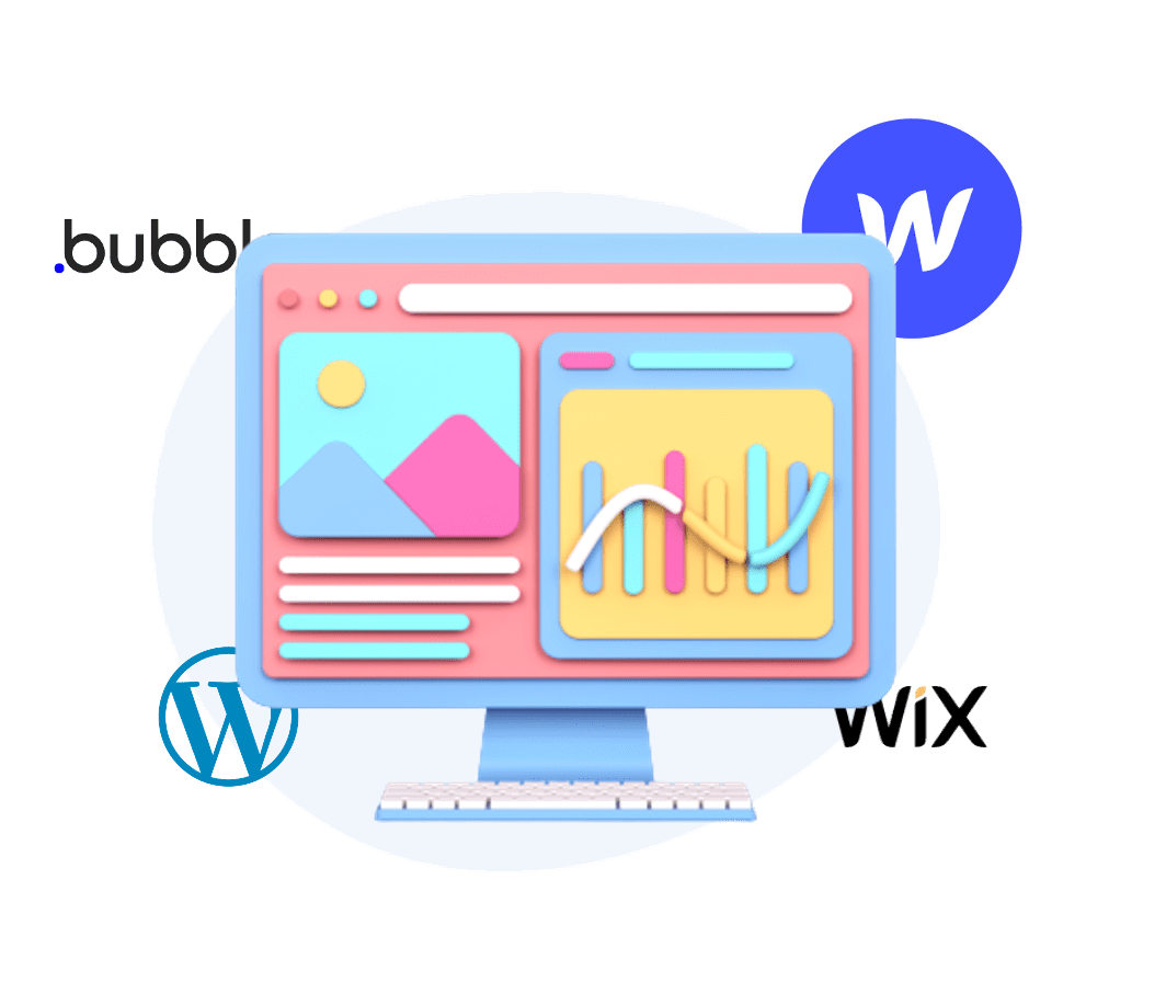 Icone d'ordinateur avec les logo de Wordpress, wix, Webflow, bubble