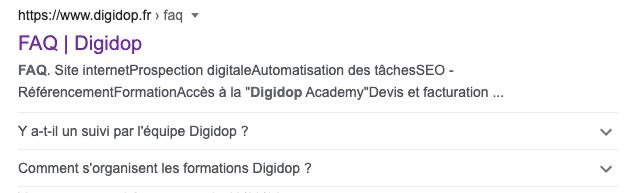 Extrait de données enrichis type FAQ de Digidop