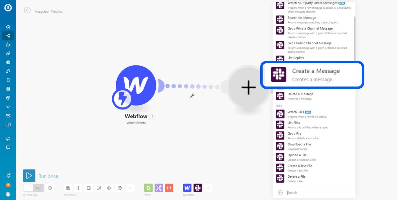 Ajout du module slack dans l'interface d'automatisation Integromat