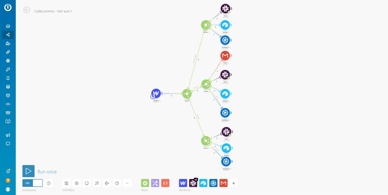 Chaine d'automatisation avec formulaires Webflow multiples sur l'espace de travail Integromat