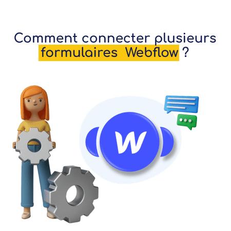 Module webflow sur Integromat avec une femme qui tient une roue outil